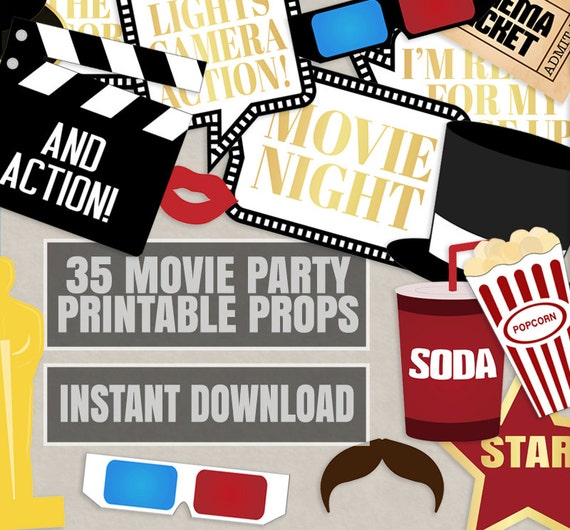 35 Movie Night Party Props Hollywood Photo Booth Party Prop