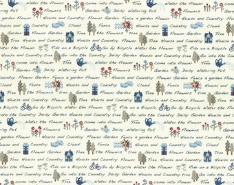 Font on Creamy White  31351-10 - American Country 16 -  by Masako Wakayama for Lecien Fabric - By the Yard