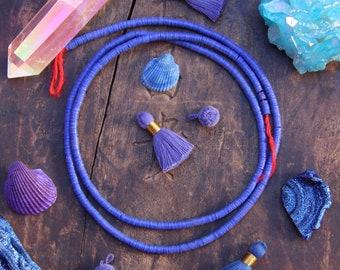 Indigo Daydream: African Vinyl Record Disc Beads 4x.5mm, Tribal, African Craft, Jewelry Making Supplies, Dark Cobalt Blue Discs, Heishi