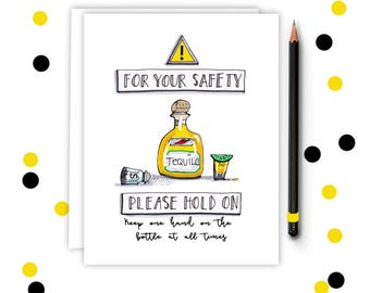 Funny Greeting Card - Tequila - Greeting Card - Funny Birthday , Graduation Card