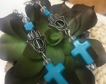 Hamsa and Cross Earring Set