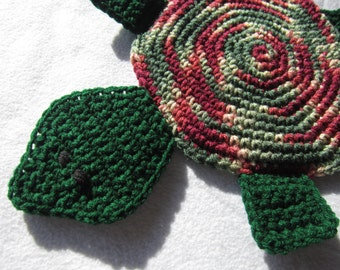 Turtle Hot Pad, Turtle Pot Holder, Maroon and Hunter Green, Turtle Trivet for Your Kitchen