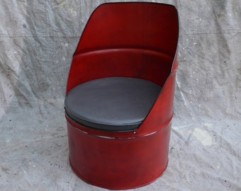 Industrial Furniture Barrel Chair Distressed Red w/ vinyl padded seat.