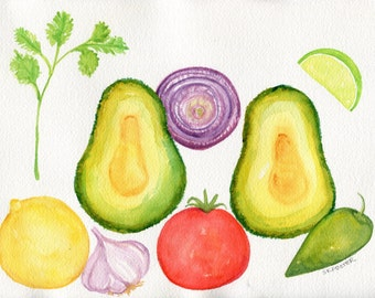 Pico de Gallo Watercolor Painting Original, kitchen decor, food art, 8 x 10, small wall art, original watercolor painting, avocado. lime.