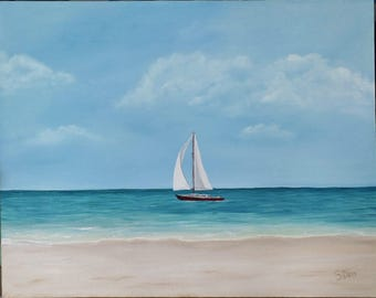 22 x 28 Original Oil Painting - Sailboat Beach Painting - Seascape - Clouds