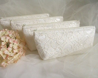 Set of 4 - Ivory Satin Clutch - Ivory Lace Clutch - Wedding Clutch - Sequin Clutch - Bridesmaid Clutch - Ivory Sequin Lace Clutch