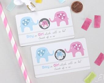 10 Baby Gender Reveal Scratch Off Cards - Pink & Blue Elephant