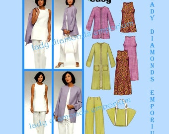 New Look 6350 Womens Slightly Flared Dress Jacket Coat Duster Tunic Top Pants Tote Bag size 10 12 14 16 18 20 22 Sewing Pattern Uncut FF