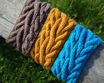 Hand knit headband, Knitted Ear warmer, Hand knit hair accessory,Cable knit, turban, knitted headband, hand knit turban