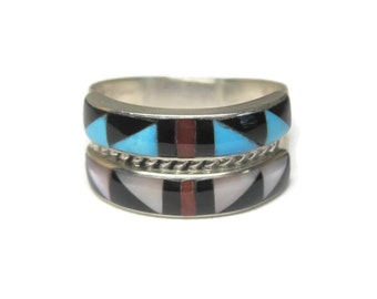Vintage 90s Traditional Navajo Inlay Ring Size 8.5