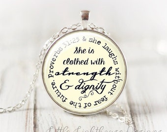 Large She Is Clothed With Strength and Dignity Necklace Christian Necklace Christian Jewelry Inspirational proverbs 31