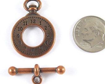 Pewter Toggle Clasp-Copper CLOCK & BAR (1 Set)