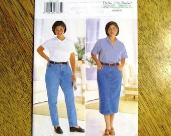 DESIGNER Delta Burke Classic Jean Pattern / 1990s Straight Jean Skirt - PLUS Size (16w - 20w) - UNCUT ff Sewing Pattern Butterick 5600