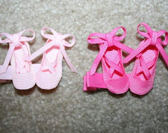SALE - Ballet Shoes - Ballerina Slippers hair bow clip - 3D ribbon sculpture accessory (hot pink, light pink, white)