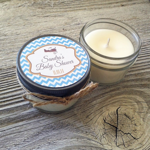 Set of 12 - 4 oz Baby Shower Candle Favor - Soy - Personalized Baby Shower  Favors //Plane Baby Shower // Chevron Baby Shower Favors