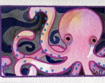 Leg Day ACEO original painting small art watercolor octopus