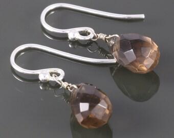 Smoky Quartz Earrings. Sterling Silver Ear Wires. Genuine Gemstone. Lightweight Earrings. Briolette Earrings. f16e051