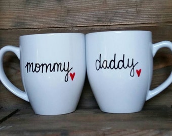 Mom and dad mugs, pregnancy reveal, photo shoot mug, pregnancy announcement, parents to be mug, baby shower gift