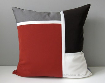 Modern Color Block Outdoor Pillow Cover, Decorative Terracotta Pillow Case, Grey Brown & White, Brick Red Sunbrella Cushion Cover, Mazizmuse
