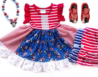 Disney Patriotic Fourth of July dress Mickey Mouse Nautical red white blue holiday for girls toddler gift Vacation dress custom boutique