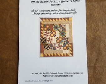 Quilt Pattern, Back to Africa Sampler Quilt, Machine Pieced Quilt, Off the Beaten Path Pattern - Quilt Pattern Only - QP0075