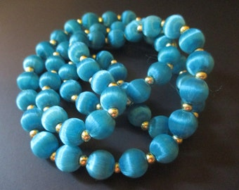 Turquoise Silk Wrapped Single Strand Beaded Necklace