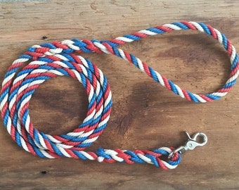 6' Rope dog leash, Patriotic leash, Upcycled lobster rope, Maine made, Nautical dog lead, Red White and Blue, Patriotic Dog
