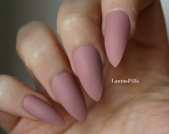 Taupe cashmere stiletto false nails! Matte or glossy Nude Beige greige mauve pink fake nails