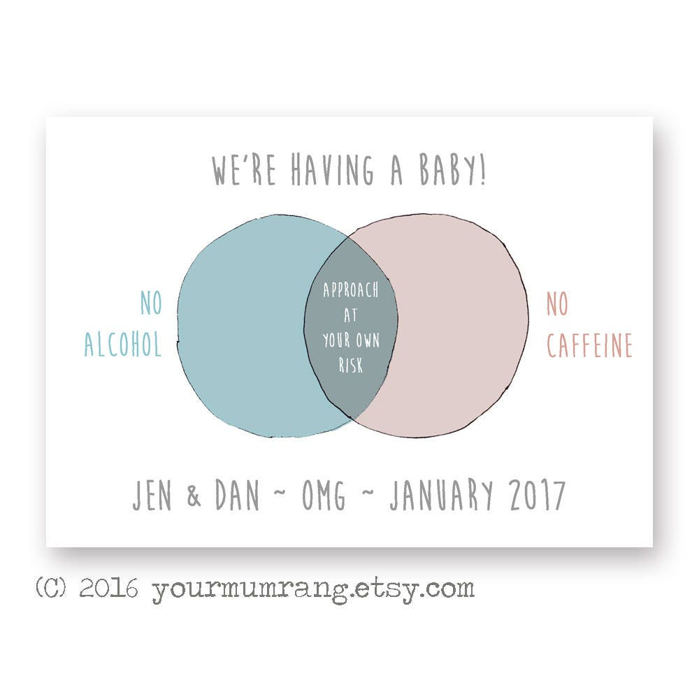 Printable pregnancy announcement postcard funny venn diagram zoom pooptronica