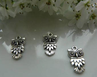 3 Silver OWL pendant charms
