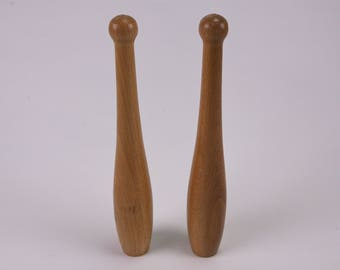 Vintage wooden skittles pair