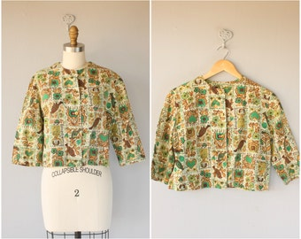 1960s Cropped Jacket   60s Cropped Blouse   60s Blouse   60s Shirt   1960s Folk Print Blouse   60s Jacket   Vintage Cropped Blouse