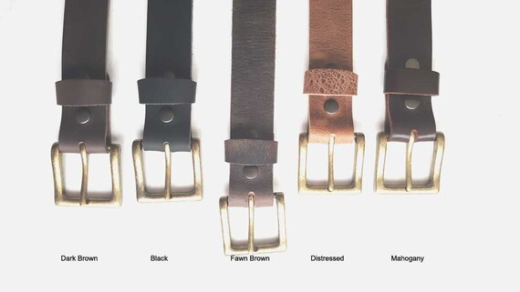 """Fawn Brown Leather Belt & Gold Buckle ~ Custom Cut ~ Grooms and Groomsmen's Gift 1-1/2"""" Belt with snaps for Jean or 1-1/4"""" Belt for Suits"""