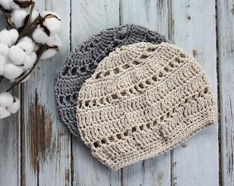 Beret Hat Knit   Cotton Beanie Hat   Lightweight Beanie Boho Hat   Beret Hat Crochet