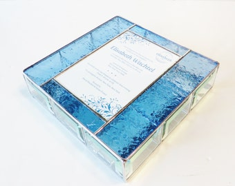 Stained Glass Keepsake Box Bat Mitzvah Invitation Gift Box Jewely Box 9x9x2 Handmade Wedding Invitation Keepsake Bride Gift
