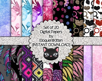 20 Digital Girly Patterns 001 - INSTANT DOWNLOAD