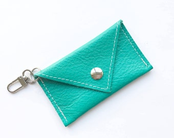 Mini Wallet Keychain -  Genuine Leather - Emerald Green