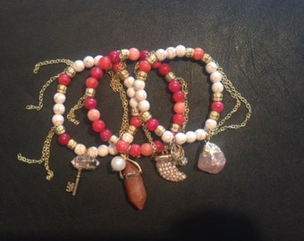 White and Multi Color Red and Pink Bracelet Stack 1