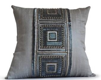 Grey Silk Pillow, Gray Silk Bead Pillow, Decorative Pillow Cover, Geometric Pillow, Handmade Pillow, Housewarming Gift, Mother's day gifts