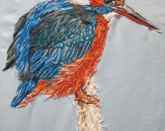 Kingfisher Textile Art