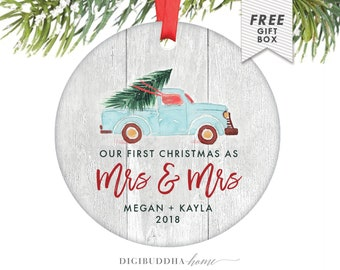 Lesbian Wedding Gift, Our First Christmas as Mrs & Mrs, Gay Marriage Christmas Present, Christmas Ornament for Lesbian Couple 1st Christmas