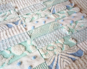 "Vintage Chenille Bedspread Squares-24-6"" -Aqua and Blue"