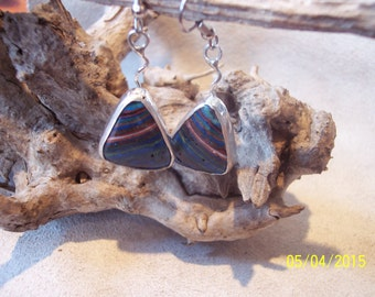 Rainbow Calsilica sterling earrings.