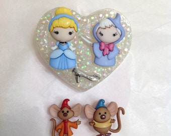 Cinderella fairy God Mother Brooch with matching Mice earrings set, Disney Princess, glass slipper, pin