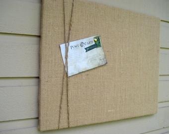 Burlap and Jute Twine Bulletin Board, Natural buralp Photo Memory Board, Memo Pin Board, 16 x 20 inches, natural decor for wedding