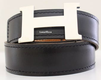 Authentic Vintage Hermes 24MM/70CM Constance Belt Kit Palladium Silver Buckle Excellent