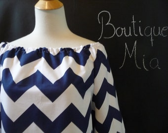 Boatneck DRESS or TOP - 3/4 length sleeves - Riley Blake - Navy and White Chevron - Made in any Size - Boutique Mia by CXV