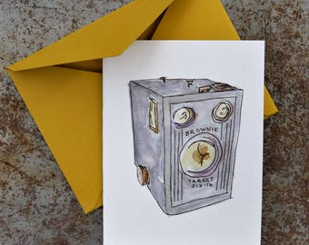 Brownie Camera | watercolor card