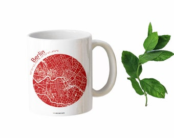 Unique BERLIN Mugs, Map of BERLIN Coffee Cup Ceramic Mug Travel Gift, Berlin City Map Gift Mug, Berlin Souvenirs, Gift for Berlin Fans