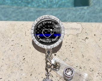 Bling She Saves Lives Thin Blue Line Badge Reel,Nurse,Police,Wife,Badge Holder,Badge Reel,Blue Lives Matter,Retractable Badge Holder,MB457